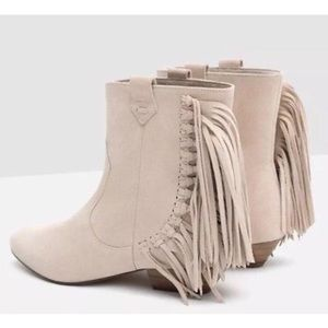 Zara Cream Suede Leather Fringed Booties